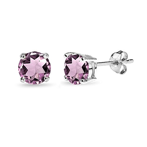 Sterling Silver Simulated Alexandrite 6mm Round-Cut Solitaire Stud Earrings ()
