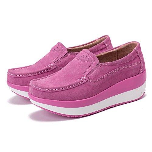 con Loafers Gracosy Pelle Scamosciato Cuneo Nascosto Casual Comodo comode Piattaforma Guida con Sneaker Zeppa Donna Rosa Scarpe da Zeppa Mocassini in Moda Scarpe Tacco HxOXrHq