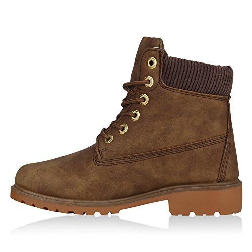 Stiefelparadies Damen Stiefeletten Outdoor Worker Boots Leicht Gefütterte Schuhe Flandell Braun
