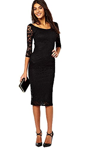 ainrving Women's Solid Simple Casual Mid Rise 3/4 Sleeve Dresses Black0