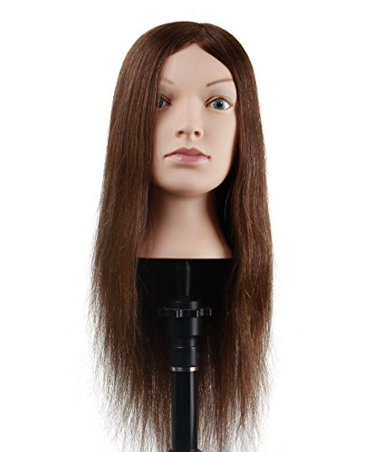 "Beauty : Cosmetology Mannequin Head with 100% Human Hair 26"" Hair Manikin Head for Styling Braiding Coloring Bleaching Cutting (A02)"