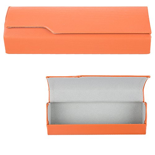 Aluminum Eyeglass Cases with Magnetic Closure - Lightweight Protective Glasses and Sunglasses Holders - Orange - Medium Size - by - Eyeglasses Orange