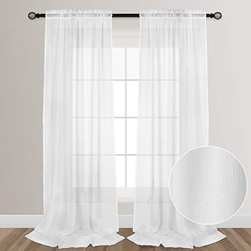 VOILYBIRD White Sheers Extra Long See Through Faux Linen Sheer Curtains for Living Room Bedroom Lightweight Rainy Style Rod Pocket at Top, 52-inch by 108-inch, 2 Panels (Long 108 Curtains Inches Sheer)