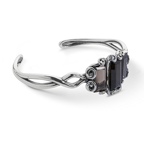 Carolyn Pollack Sterling Silver Smokey Quartz Gemstone Three Stone Scroll Cuff Bracelet Size Large