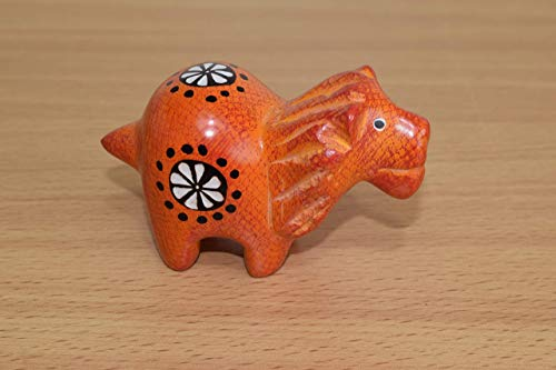 Soapstone Lion - Figurine Sculpture - Handmade in Kenya - 2 Inches Height x 3 Inches Long, Orange, SS29