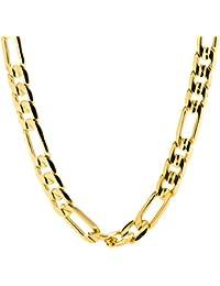 Figaro Chain 9MM, 24K Gold with Inlaid Bronze, Premium...