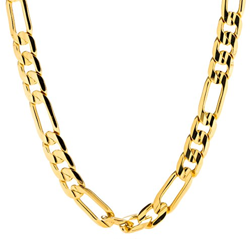 Gold Figaro Chain 7MM Fashion Jewelry Necklaces, 24K Overlay, Resists Tarnishing, Guaranteed for Life, 22 Inches (Solid Gold Figaro Chain For Men)
