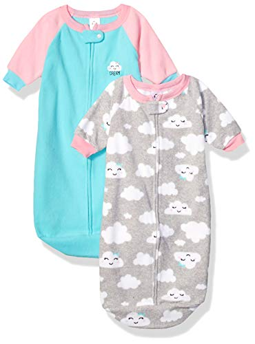 GERBER Baby Girls 2-Pack Sleep Bag, Blue/Pink Clouds, 0-6 Months