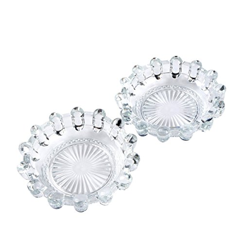 YXQ 2Pcs 5.4inch Glass Ashtray Round Crystal Heavy Smoke for Cigar Cigarettes Collectible Holder Tribal Tabletop Tray Outdoor Outside Home ()