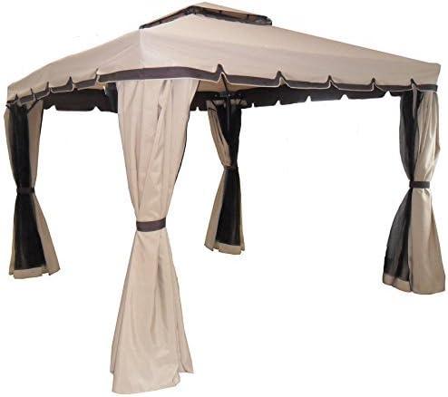 Cenador de jardín fabricado con estructura de aluminio y lona de 250 g/m². Dimensiones: 3 x 3 mCenador impermeable con 4 mosquiteras y 4 lonas cortavientos incorporadas.: Amazon.es: Jardín