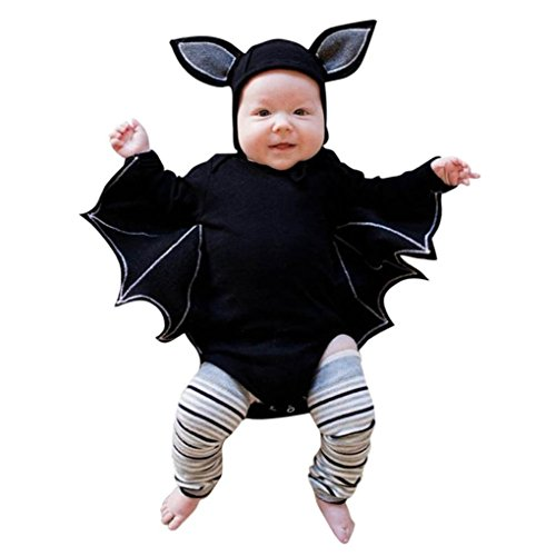 Fiaya Newborn Infant Baby Halloween Cosplay Costume Cartoon Bat Style Romper with Hat Outfits Set for NB-24M (Black, 12-18 Months)