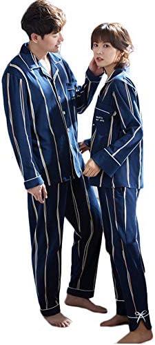 (JUTAOPIN)夫婦 ペアパジャマ 秋 冬 寝巻き 人気 両親 パジャマペア 綿 結婚祝い プレゼント ペア パジャマ パジャマレディース 可愛い 大きいサイズ ストライプ 紺 ネイビー リボン おしゃれ