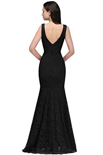 MisShow 46 Abendkleider 32 V Kleid Meerjungfrau Spitzenkleid Elegant Ausschnitt Damen Ballkleid Ärmellos Lang Brautjungfernkleid Gr Schwarz UCqUxFAawr