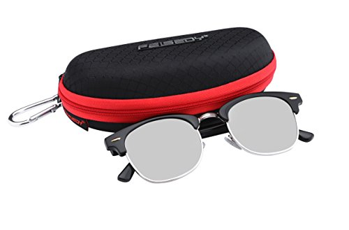 FEISEDY Retro Polarized Half Frame Sunglasses Men Women Silver - Round Sunglasses Half