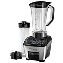 BLACK+DECKER BL6010 Performance FusionBlade Digital Control Blender with 64 Ounce BPA Free Jar and 20 Ounce Portable Personal Blender Jar, Stainless Steel Blender