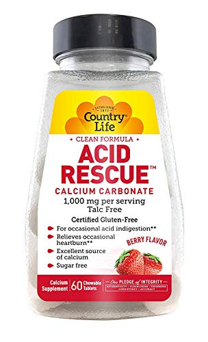 Country Life Vitamins Acid Rescue, Natural Heartburn Relief, Chewable Tablets, 90g Digestive Aid & Enzymes for Heartburn Relief, Acid Reducer with Magnesium & Calcium, Berry Flavor, 60 - Country Vitamin Natural Life