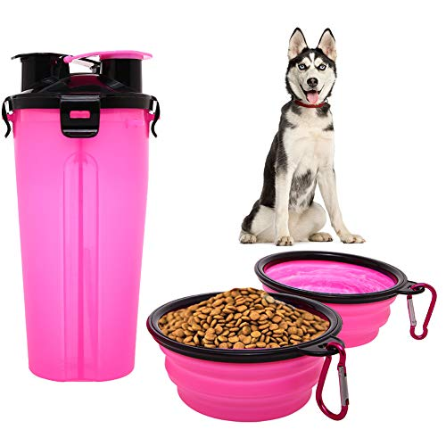 Dog Water Food Bottle for Walking Travelling Hiking Camping 2-In-1 Pet Food Container with 2 Collapsible Dog Bowls Outdoor Travel Water Dispenser Leak Proof Cup Portable Drinking Bottle for Cat Puppy ()
