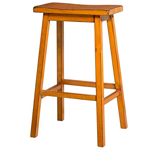 ModHaus Living Contemporary Style 29 inch Bar Height Bar Stools with Saddle Seat Oak Finish (Set of 2) - Includes Pen