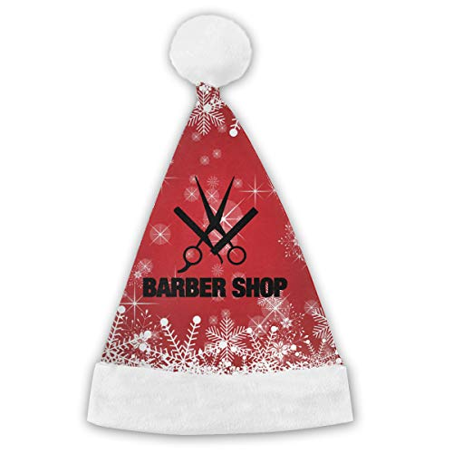 XM9AS3HAT Barber Shop Christmas New Years Xmas Christmas Party Santa Hats Cap for Children Adults
