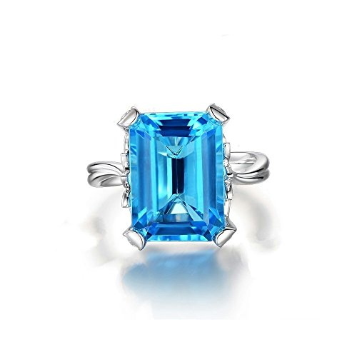 Uloveido Women Platinum Plated Emerald Cut Lab Created Big Blue Diamond Solitaire Anniversary Ring Charm Rectangle Wedding Promise Rings for Women Girls in Silver Color Size 7 RJ292