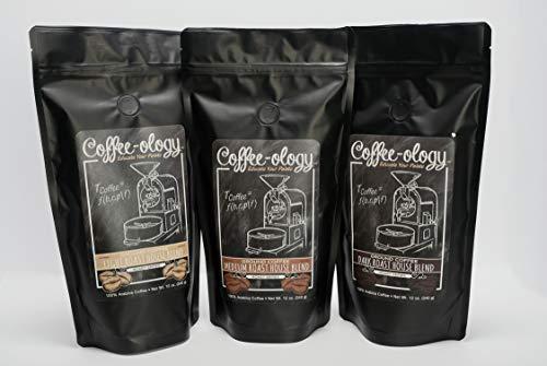Coffee-ology Variety Pak Light, Medium, Dark Roast House Blend, Ground,36 Ounce