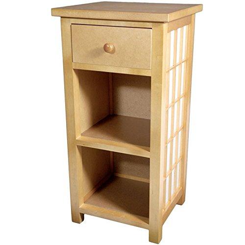 Oriental Furniture Shoji End Table w/Shelves Natural