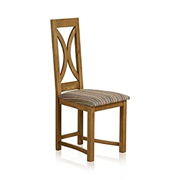 Oak Furniture Land Loop Back Rustic Solid Oak Dining Chair With