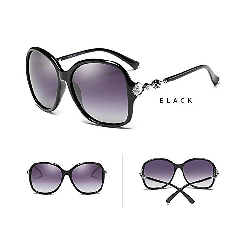 Redondo Diamantes Luz Clásico Protección Gafas Protección Sra Negro Solar WYYY sol Anti 100 De Imitación Negro UV Gafas Color De Marco de Decoración Retro Conducción gafas De UVA Polarizada HHaxv7z
