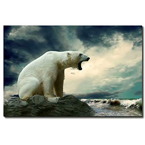 Fierce Polar Bear Modern Home Decorative Painting Canvas Wall Art For Living Room Bedroom Bathroom Stretched And Framed Ready To Hang Animal,24 * 36inch(60 * -