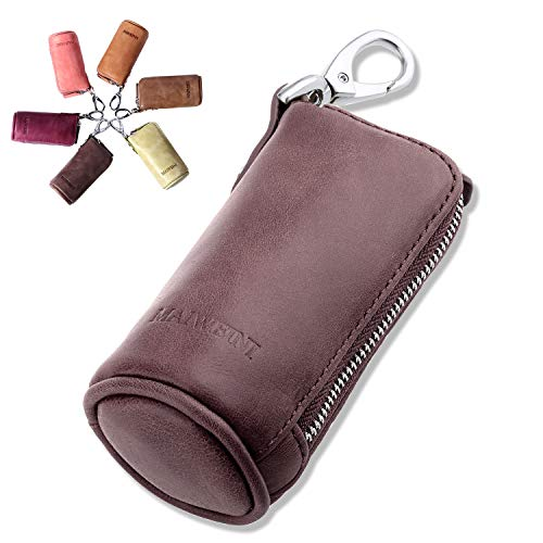Multi Soft Genuine Leather Coin Purse Pouch, Car Key Case Wallet with Zipper,Pocket Wallet with Chain/Ring for Men Women (Coffee)