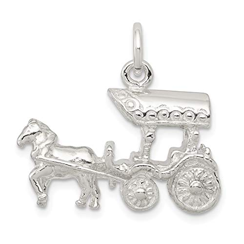 925 Sterling Silver Horse Carriage Pendant Charm Necklace Animal Travel Transportation Western Fine Jewelry Gifts For Women For Her