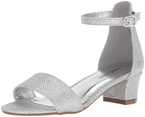 Nine West Girls' EEVAH Heeled Sandal, Silver Metallic Mesh, 3 Medium US Little Kid (3 Silver Size Girls Dress Shoes)