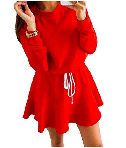 Rosso Di Lunga Manica Donne Formato Vita Mini Solido Più Comodi Accettare Di Chic Vestito 0p0fxUOq