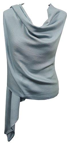 World Of Shawls Pashmina To Go Unisex Plain Pashmina Scarf Shawl Stole Wrap 100% Viscose (Light Silver)
