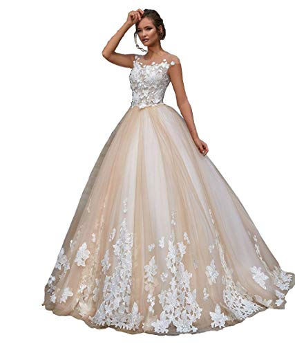 A Line Wedding Dresses With Cap Sleeves: FJMM Womens Sheer Neck A-line Wedding Dresses Illusion Cap
