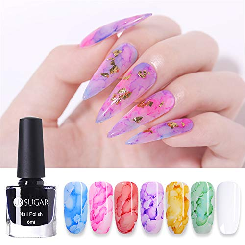 UR SUGAR 6ml Blooming Nail Polish, Blossom Flower Marble Nail Polish Gradient Color Manicure Ink Smudge Lacq Watercolor Transparent Painting Drawing Design 7 Bottles Kit