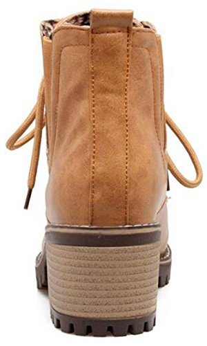 up Block Lace Ankle Women's Short Toe Trendy Boots Mofri Brown Medium Stacked Booties Elastic Round Heel Aw1X7q