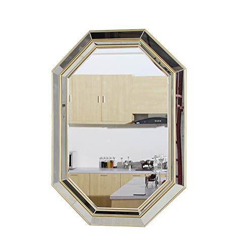 Modern Bathroom Mirror Wall Mounted Mirror, Octagonal Home Decor Mirror, Gold Frame -