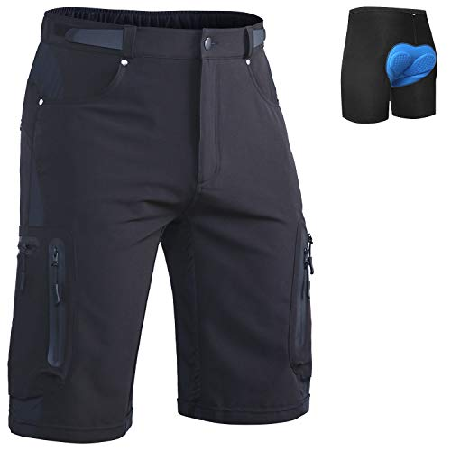 Ally Mens MTB Mountain Bike Short Bicycle Cycling Biking Riding Shorts Cycle Wear Relaxed Loose-fit (Black, XL(Waist:32.5