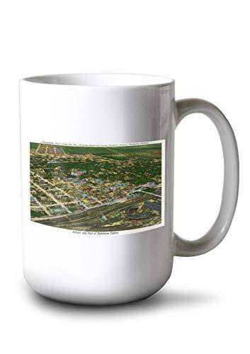 (Lantern Press Cheyenne, Wyoming - Aerial View of The City Showing Railroad Yards, Viaduct, Depots (15oz White Ceramic Mug))
