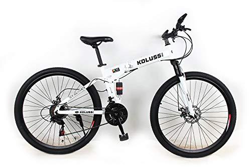 EGO TECHNOLOGY Bicicleta de Montaña Plegable Rin 29 Ciclismo de Montaña, 21 velocidades, Unisex, Suspension Frontal Acero de Alto Carbono, Freno de Disco. Blan