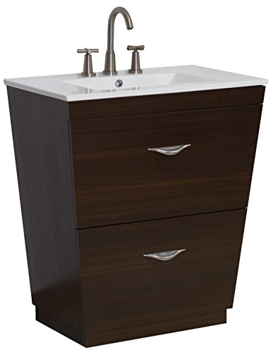 American Imaginations This modern vanity set belongs to the exquisite Vee design series. It features a rectangle shape. This vanity set is designed to be installed as a floor mount vanity set. It is constructed with plywood-melamine. This vanity set comes with a melamine finish in Wenge color. It is designed for a 8-in. o.c. faucet.