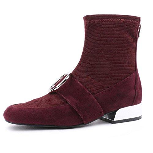 RED elásticas de Martin mujer botas de En trabajo 40 Rough botas simples 33 Botas Red cabeza para Botas 8051FD Ante de Botas con Botas cuadrada las P85xSzq