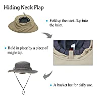 DIDADI Sun Hat with Neck Flap Cover for Men Women, Quick Drying Wide Brim Bonnie Hat Breathable Lightweight UV Protection Cap with Windproof Chin Strap for Hiking Fishing Research Travel Outdoor Golf