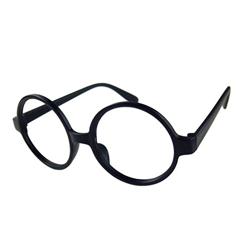 M-Egal Classic Fancy Round Frame Party Dress Big Nerd Eyeglasses Glasses Frame No Lens Matte Black Eyes - Nerd Black Glasses Big