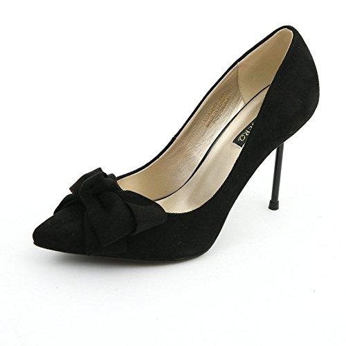 Tacones Baja Boda de Zapatos Gamuza de Stiletto Dulce Arco black de Altos Zapatos Moda la Boca YMFIE señaló qFRI0fwW