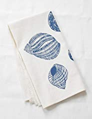 Organic Cotton Periwinkle Shell Tea Towel in Blue-violet
