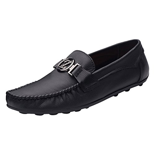 Snowman Lee Men's Casual Premium Leather Fashion Walking Driving Shoes Slip-On Penny Loafers Black 6 M - Premium Lee Outlets