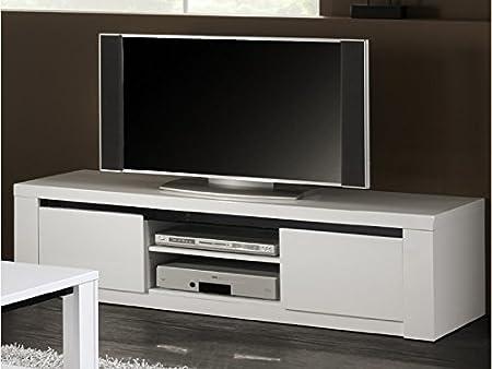 Mueble TV lacado blanco y negro