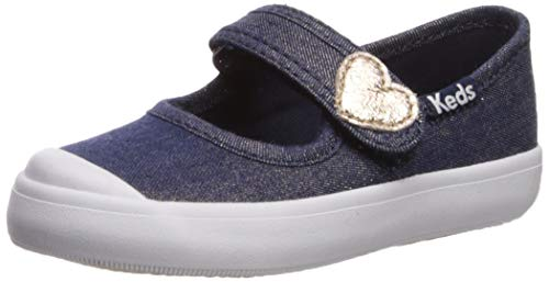 Keds Girls' Harper Mary Jane Flat, Denim Sparkle, 11.5 M US Little Kid